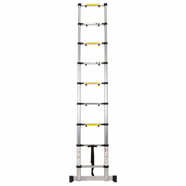 2.6m Aluminum Telescopic Ladder With Finger Gap And Stabilize Bar