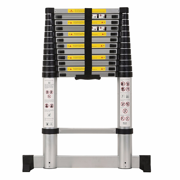 3.8m Aluminum Telescopic Ladder With Stabilize Bar