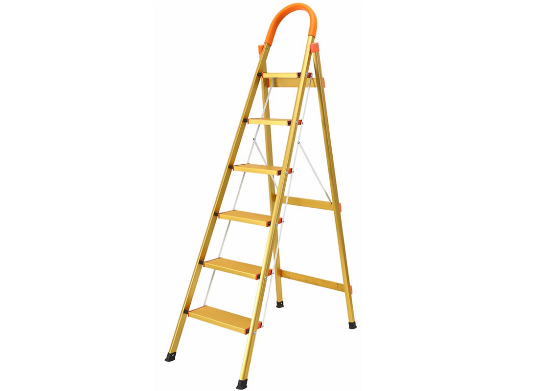 JHM0306K 6 Step Aluminum Ladder Folding Platform Stool