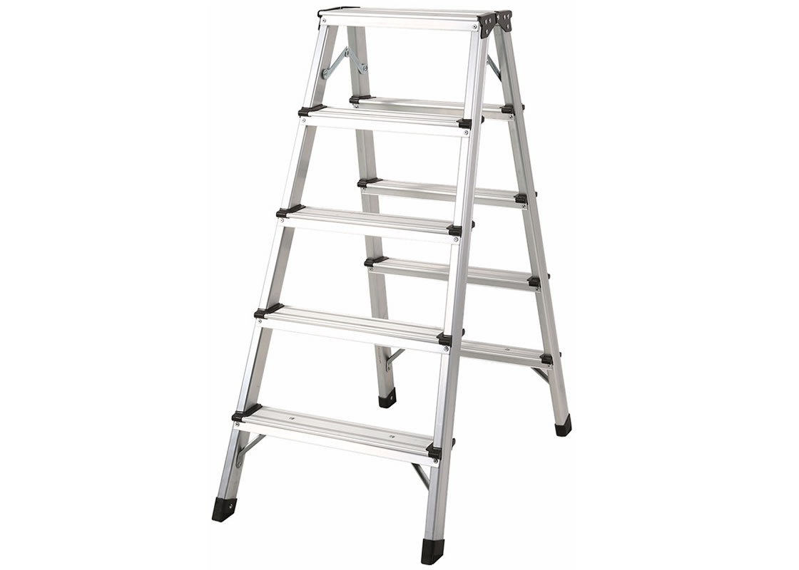 Aluminum Double Sided Ladder 5 Steps Folding Hand Truck