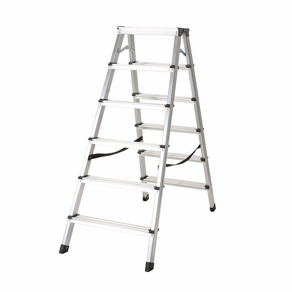 Aluminum double sided ladder 6 steps