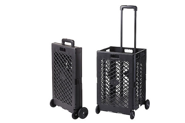 Lightweight 80L Shopping Trolley, Multi Purpose Folding Trolley Wheeled Shopping Storage Crate Box